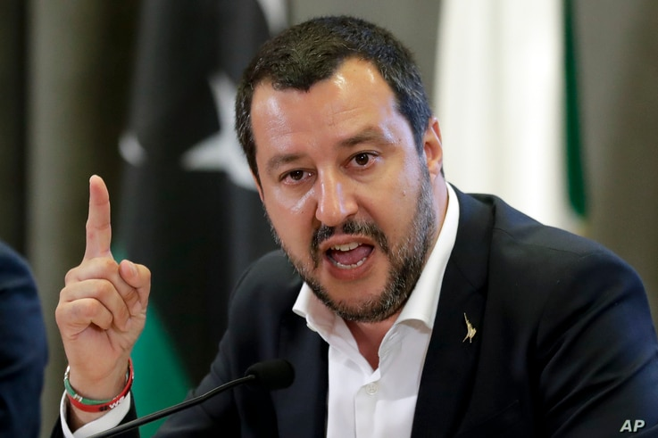 Italian Interior Minister Matteo Salvini makes a point during a joint press conference with Vice President of Libyan Parliamentary Council Ahmed Maitig, in Rome, July 5, 2018.