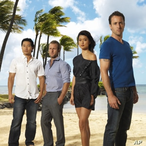 """(From right) Alex O'Loughlin, Grace Park, Scott Caan and Daniel Dae Kim of the CBS series """"Hawaii Five-0"""""""
