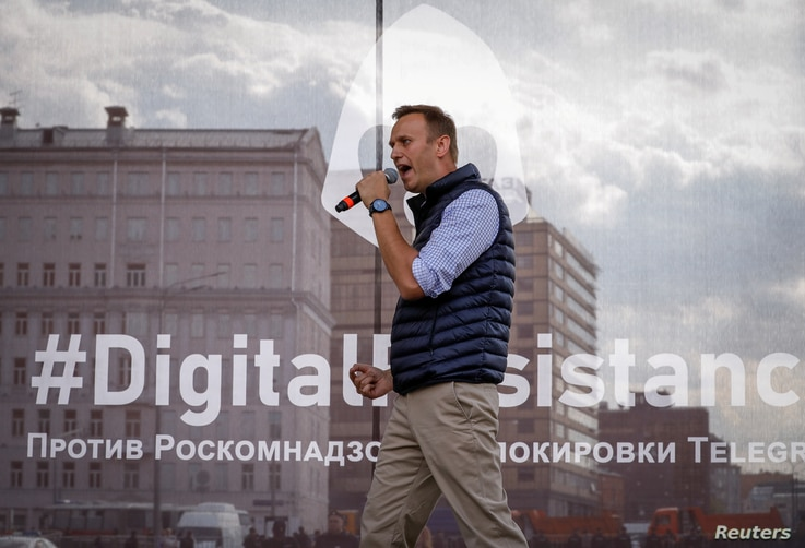 Russian opposition leader Alexei Navalny attends a rally in protest against court decision to block the Telegram messenger, in Moscow, April 30, 2018.