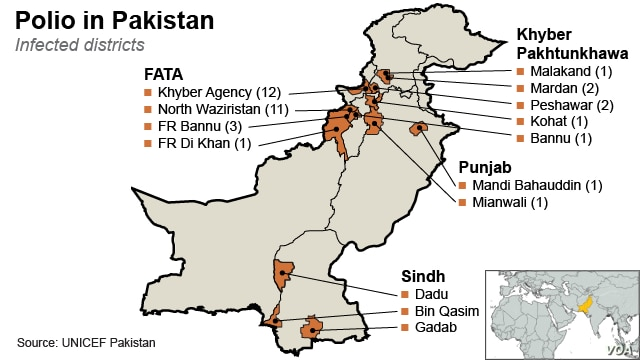 Polio in Pakistan: Infected Districts