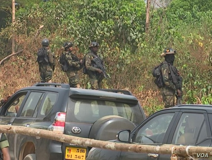 Military protecting government officials visiting Lebialem in South Western Cameroon, Sept. 15, 2018