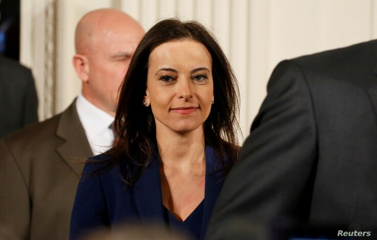 FILE - U.S. Deputy National Security Advisor for Strategy Dina Powell arrives to attend a joint news conference with Germany's Chancellor Angela Merkel and U.S. President Donald Trump in the East Room of the White House in Washington, March 17, 2017....