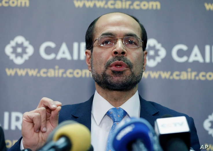 Council on American-Islamic Relations (CAIR) national executive director Nihad Awad speaks during a news conference at CAIR offices, in Washington, Jan. 30, 2017