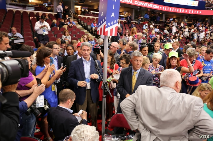 Virginia delegates prepare to speak at the Republican National Convention at the Quicken Loans Arena, in Cleveland, July 18, 2016.