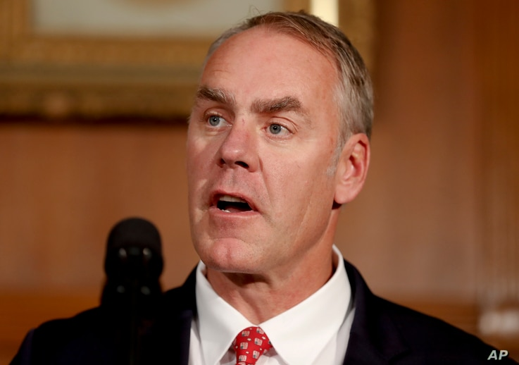 Interior Secretary Ryan Zinke speaks at the Interior Department in Washington, April 26, 2017, before President Donald Trump signed an Antiquities Executive Order.