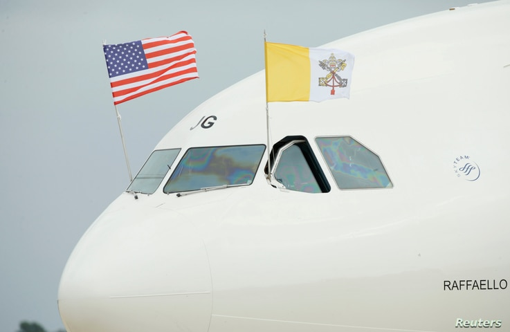 Pope Francis' aircraft taxis at Joint Base Andrews outside Washington upon arrival in the United States, Sept. 22, 2015.