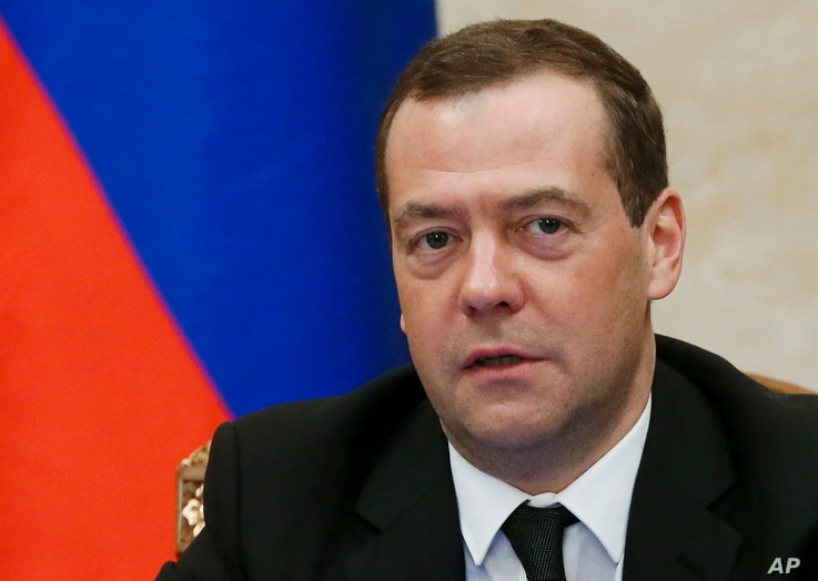 Russian Prime Minister Dmitry Medvedev speaks during a cabinet meeting in Moscow, March 2, 2017.