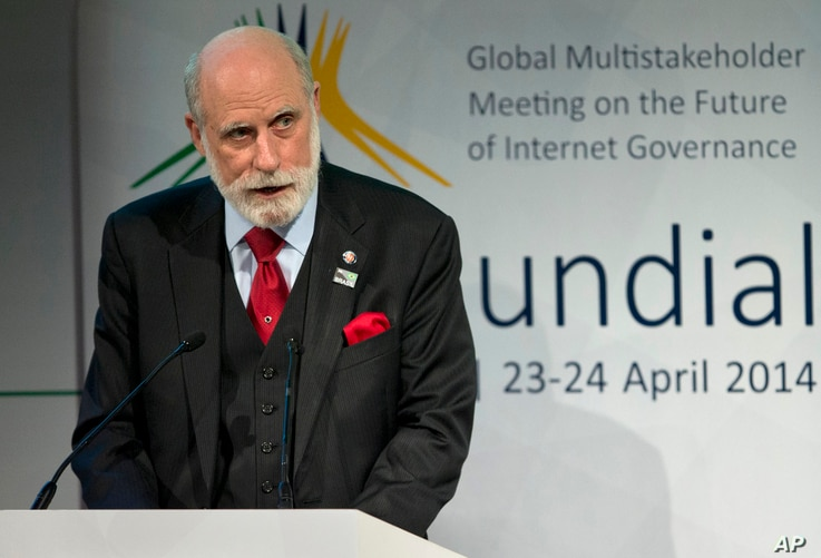 FILE - U.S. computer scientist Vint Cerf addresses a conference on the future of Internet governance in Sao Paulo, Brazil, April 23, 2014. Cerf recently addressed Cuban communications officials at a science and technology symposium.