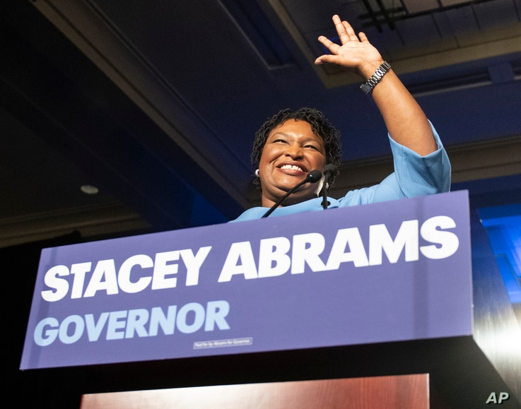 FILE - Georgia Democratic gubernatorial candidate Stacey Abrams speaks to supporters during an election night watch party in Atlanta, Nov. 6, 2018.