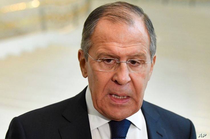 Russian Foreign Minister Sergey Lavrov speaks to the media in Tashkent, Uzbekistan, March 27, 2018.
