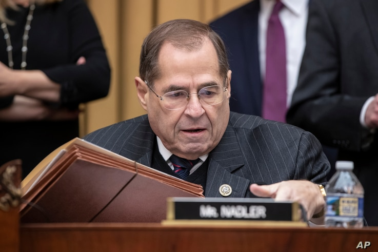 Rep. Jerrold Nadler, D-N.Y., the top Democrat on the House Judiciary Committee, arrives for the testimony of Google CEO Sundar Pichai about the internet giant's privacy security and data collection, on Capitol Hill in Washington, Dec. 11, 2018.