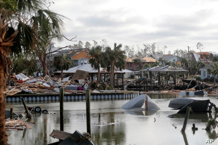 Debris scatters an area in the aftermath of Hurricane Michael in Mexico Beach, Fla., Oct. 11, 2018.