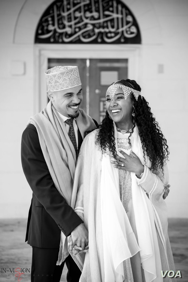 Jeremy Randall and Ariam Mohamed celebrate their April 22 engagement at the Diyanet Center of America, a moque in Lanham, Md. (Photo courtesy of Ariam Mohamed)