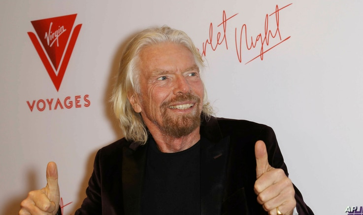 Richard Branson is pictured at the Virgin Voyages Scarlet Night Celebration at the PlayStation Theater in New York City, Feb. 14, 2019.