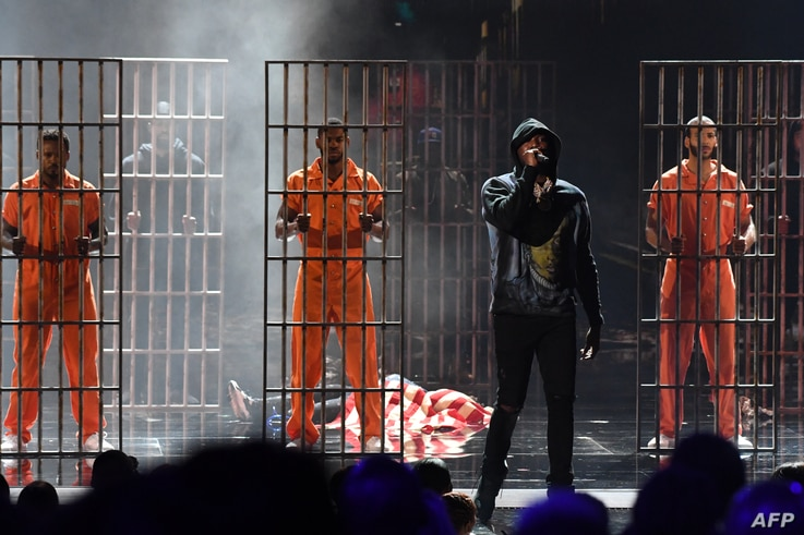 Meek Mill performs onstage during the BET Awards at Microsoft Theatre in Los Angeles, California, June 24, 2018.