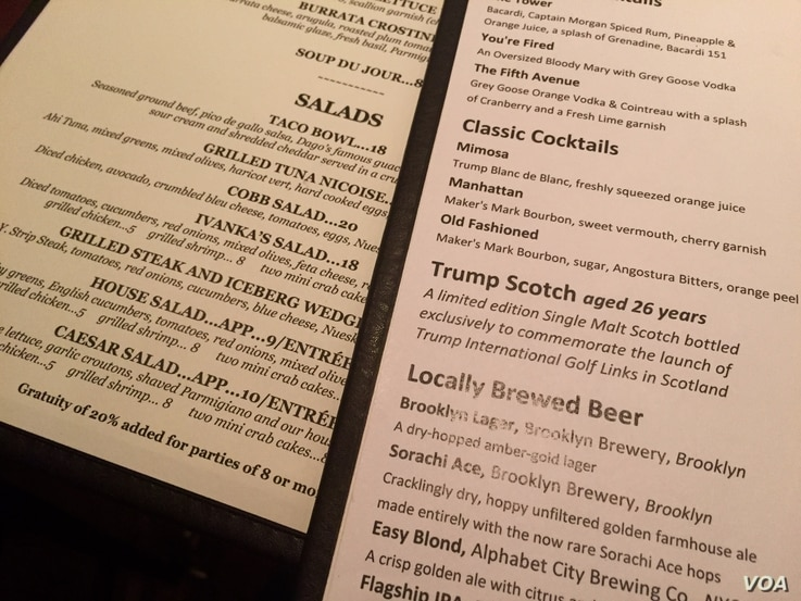 A sample of name-brand items on the Trump Tower Grill menu. (R. Taylor/VOA)