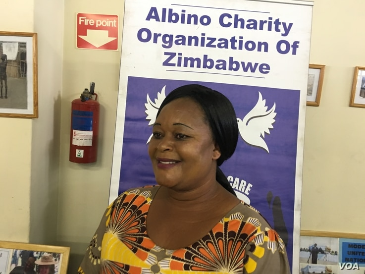 Loveness Mainoti belongs to the Albino Charity Organization of Zimbabwe, which offers counseling and encouragement to parents of albino children. (C. Mavhunga/VOA)