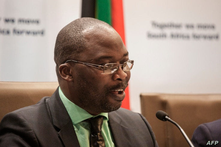 South African Justice Minister Michael Masutha gives a press briefing in Pretoria on Oct. 21, 2016 regarding South Africa's decision to withdraw from the International Criminal Court (ICC).
