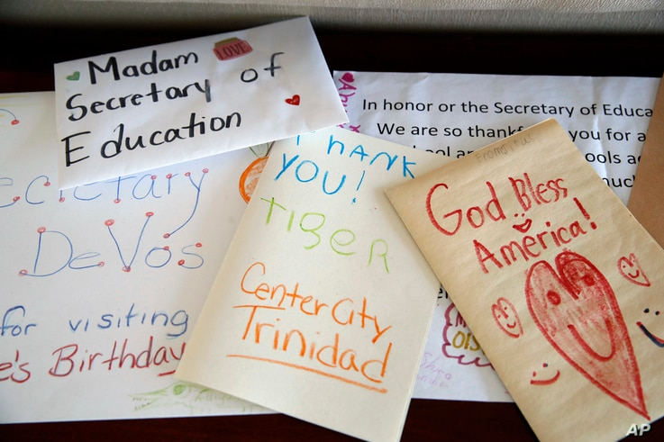 Cards from school children are seen in the office of Education Secretary Betsy DeVos, Aug. 9, 2017, at the Education Department  in Washington.
