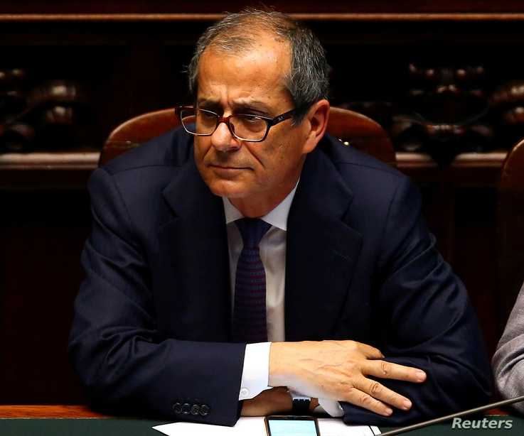FILE PHOTO: Italian Economy Minister Giovanni Tria attends a session of the Lower House of the Parliament in Rome, Italy, June 6, 2018.
