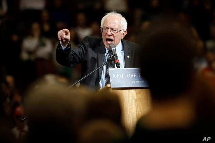 Democratic presidential candidate Sen. Bernie Sanders of Vermont speaks during a campaign stop at Ohio State University in Columbus, Ohio, March 13, 2016.