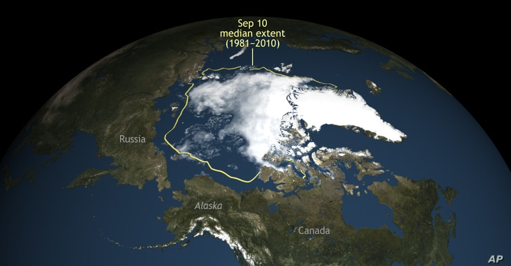 FILE -- Arctic sea ice  shrank to its second lowest level since scientists started to monitor it by satellite. This September 10, 2016, photo show it extending 1.6 million square miles, the smallest since 2012's 1.31 million square miles.