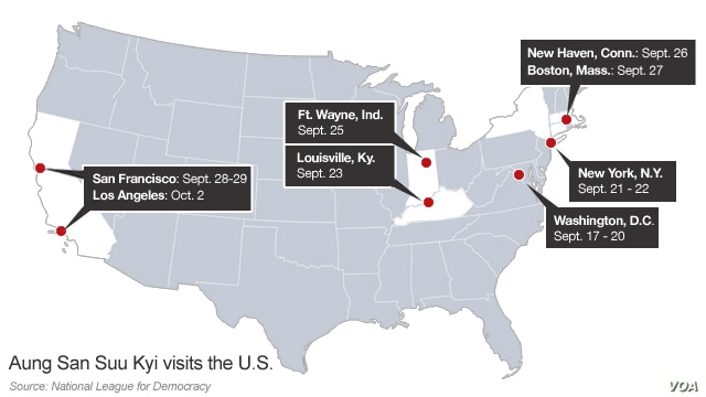 Aung San Suu Kyi's tour of the United States