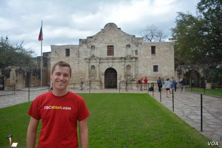 Mikah is one of more than one million people who visit the Alamo each year.