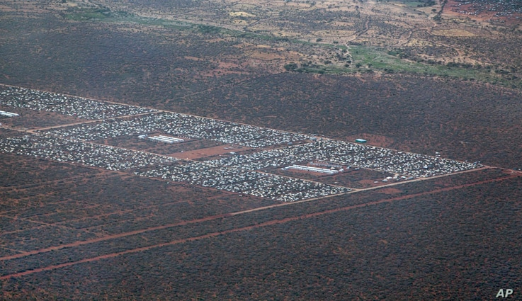 FILE -  parts of Dadaab, the world's largest refugee camp, are seen from a helicopter in northern Kenya.