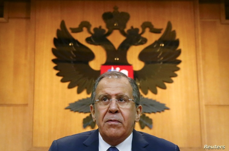 Russian Foreign Minister Sergei Lavrov gives a news conference in Moscow, Russia, Jan. 26, 2016.
