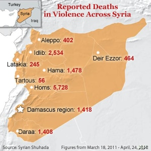 Deaths across Syria, as reported by Syrian Shuhada.