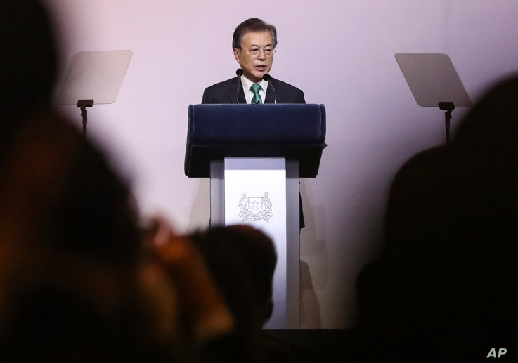 "South Korea's President Moon Jae-in delivers his speech entitled ""ROK and ASEAN: Partners for Achieving Peace and Co-prosperity in East Asia"" during the 42nd Singapore Lecture organized by the Institute of South East Asian Studies (ISEAS) in Singapor..."