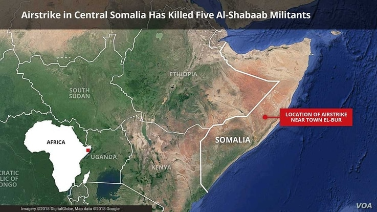 Map of central Somalia, location of airstrikes, April 2, 2018.