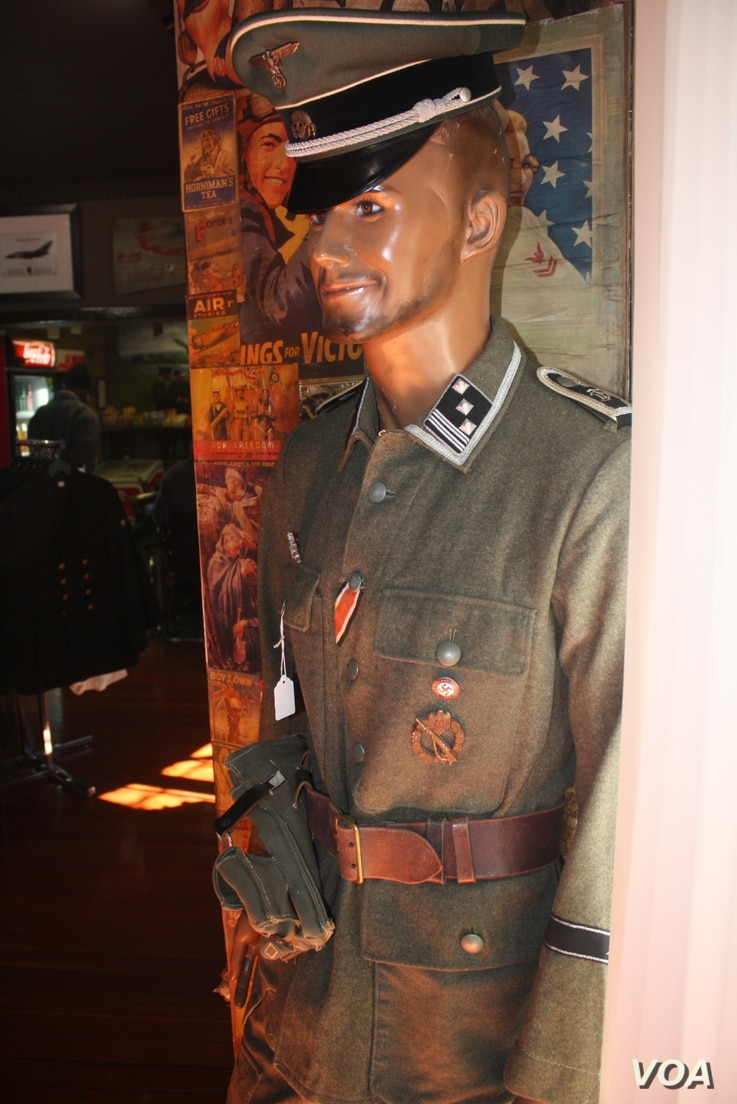 A mannequin dressed in a genuine uniform from Nazi Germany's SS unit. (D. Taylor/VOA)