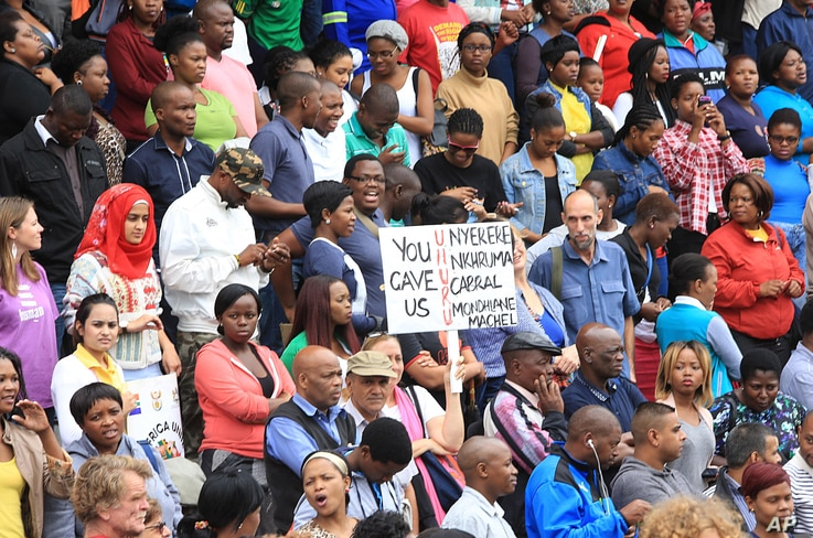 A peace march against xenophobia takes place in Durban, South Africa, April 16, 2015.