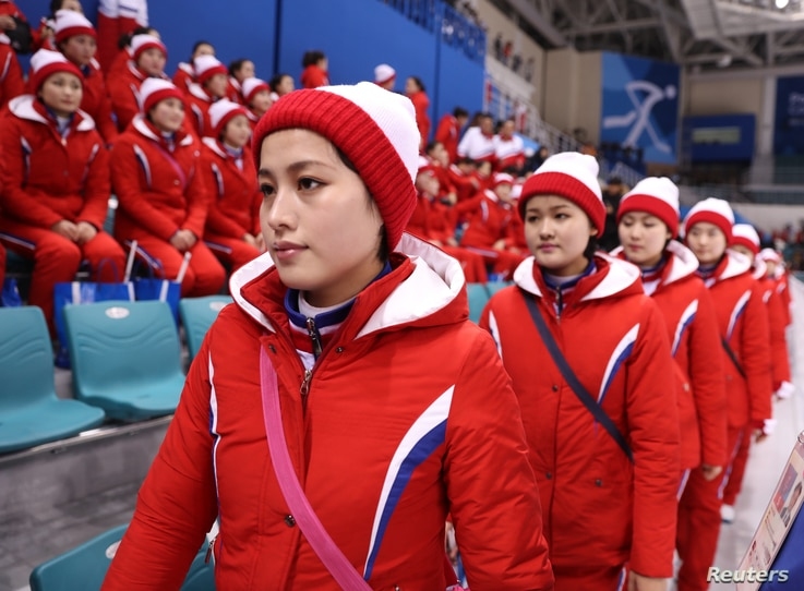 North Korean cheerleaders at the Pyeongchang 2018 Winter Olympics on February 14, 2018.