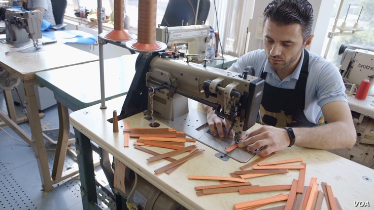 The bracelets are made in a factory in the Netherlands — the Dream Factory — by former refugees.