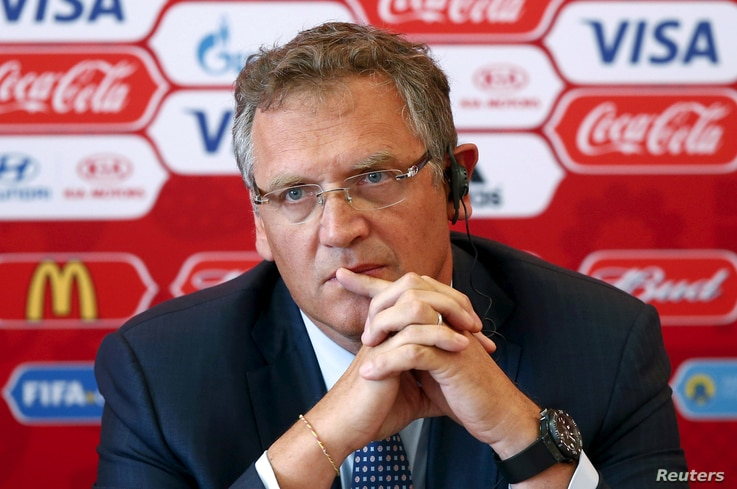 FILE - Then FIFA secretary general Jerome Valcke attends a news conference during his visit to Samara, one of the 2018 World Cup host cities, Russia, June 10, 2015.