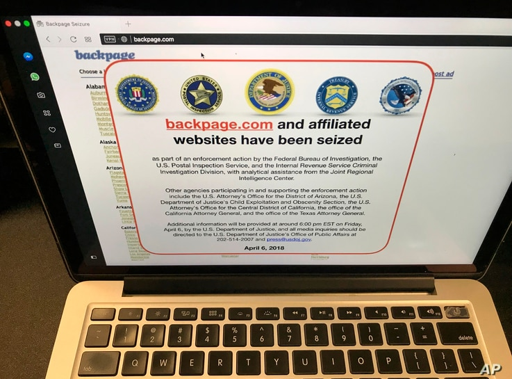 FILE - This April 6, 2018, file photo shows a screenshot of Backpage.com on the day that federal authorities seized the classified site as part of a criminal case.