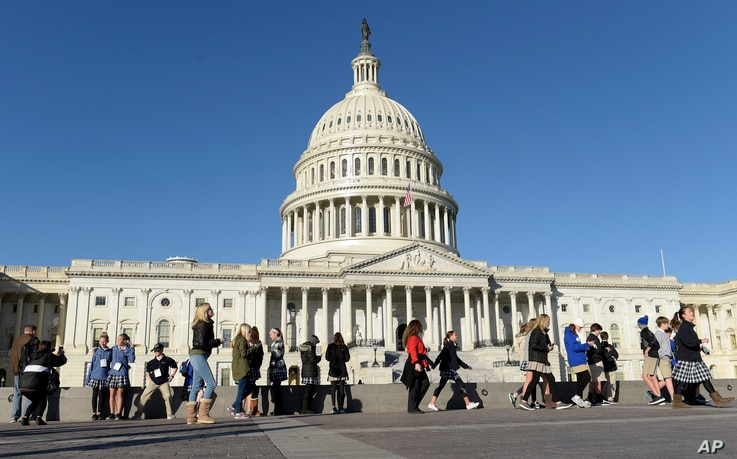 People visit Capitol Hill in Washington,  Nov. 8, 2016, on election day.
