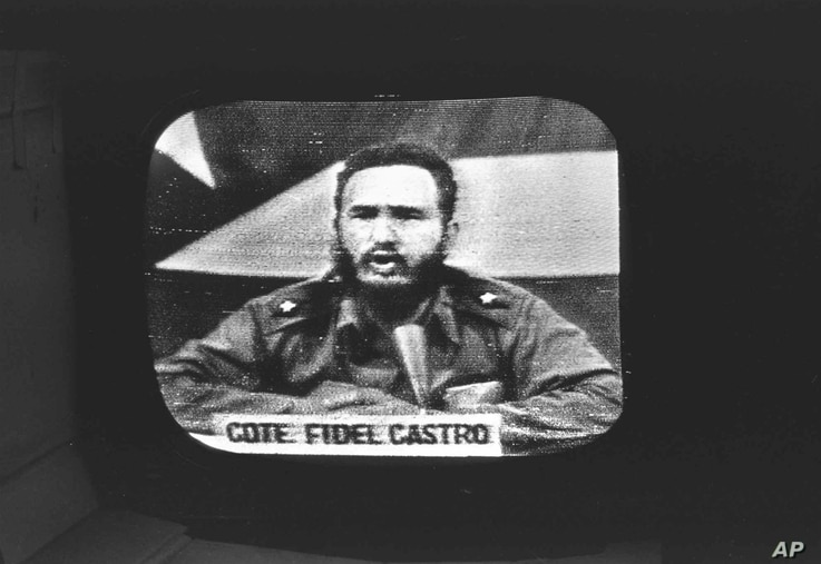This file photo shows Cuban President Fidel Castro replying to U.S. President John F. Kennedy's naval blockade via Cuban radio and television on October 23, 1962.
