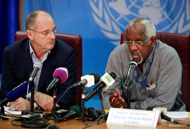 David Shearer, left, head of the United Nations Mission in South Sudan (UNMISS), and UNMISS's Human Rights Director, Eugene Nindorera address a news conference in Juba, South Sudan Feb. 22, 2018.