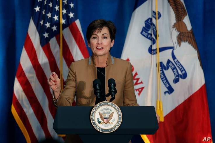 FILE - Iowa Gov. Kim Reynolds speaks during a rally for U.S. Rep. David Young, R-Iowa, in Des Moines, Iowa, Oct. 19, 2018.
