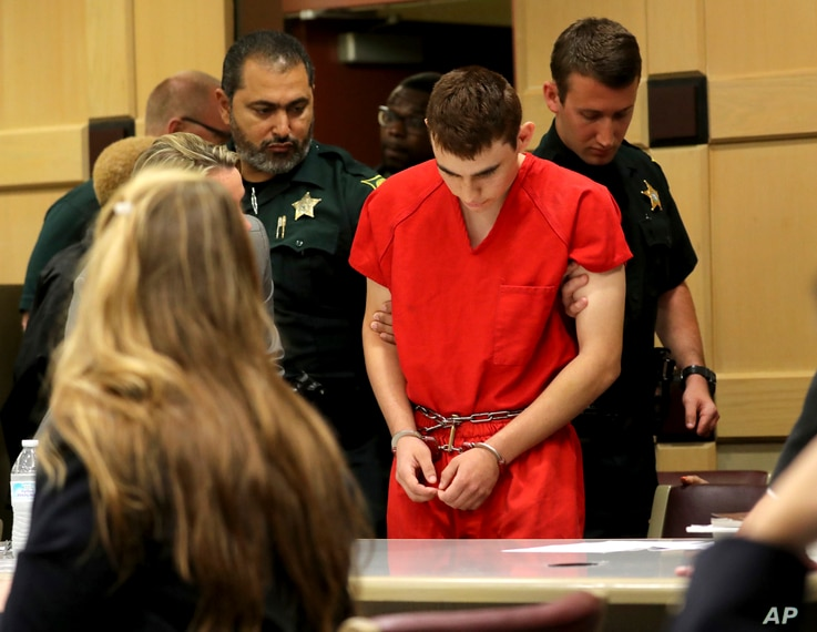 Nikolas Cruz appears in court for a status hearing before Broward Circuit Judge Elizabeth Scherer, Feb. 19, 2018, in Fort Lauderdale, Fla.
