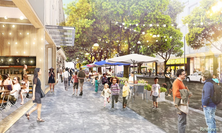 Architectural rendering of Facebook's proposed Willow Campus is seen in Menlo Park, California, in this undated photo obtained by Reuters, July 7, 2017.