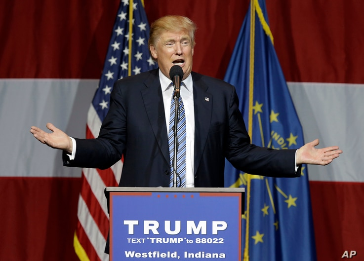 Republican presidential candidate Donald Trump speaks at a rally in Westfield, Ind.