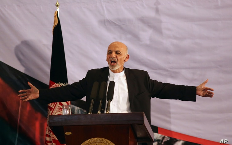 Afghan president-elect Ashraf Ghani Ahmadzai speaks in his first public appearance since winning the election runoff in Kabul, Sept. 22, 2014.