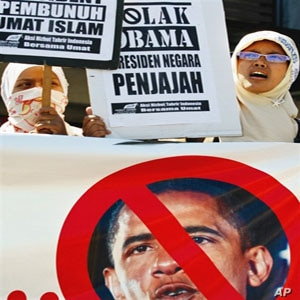 Indonesian women protest US President Barack Obama's upcoming visit, in Banda Aceh, Aceh province, 14 Mar 2010.