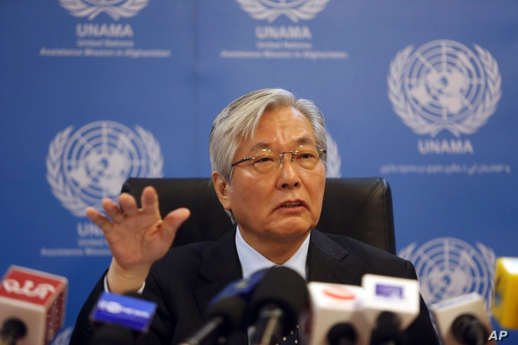 FILE - Tadamichi Yamamoto, United Nations Special Representative of the Secretary-General for Afghanistan, speaks during a press conference in Kabul, Afghanistan, May 15, 2018.