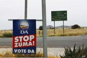 In South Africa's Free State, signs of the April 2009 election, such as this opposition banner alongside a highway,  remain